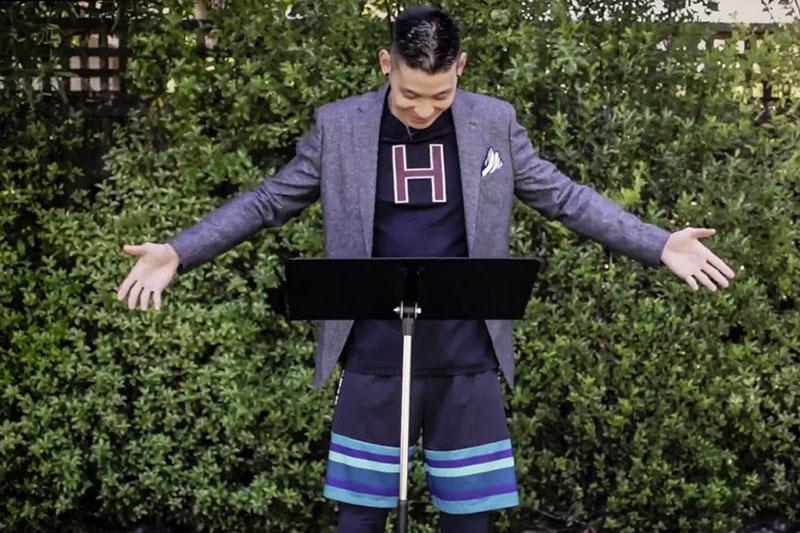 Jeremy Lin '10 was the main speaker at Class Day. He shows off his athletic shorts.