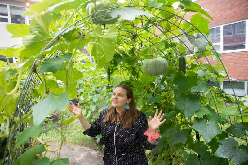 Magdalena Siwek gives a tour of the garden at the Center for Astrophysics.