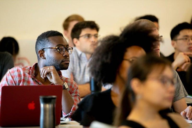 Student in an economics class at Harvard.