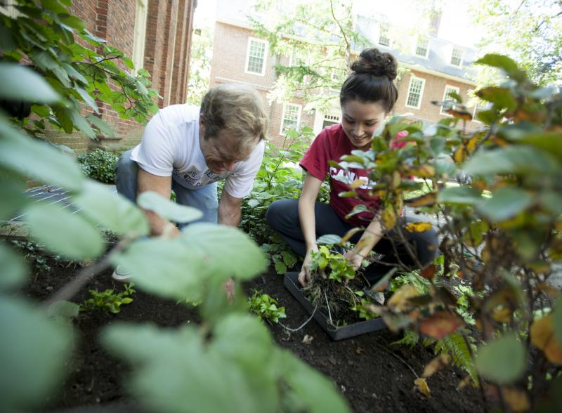 Two students planting in the community garden