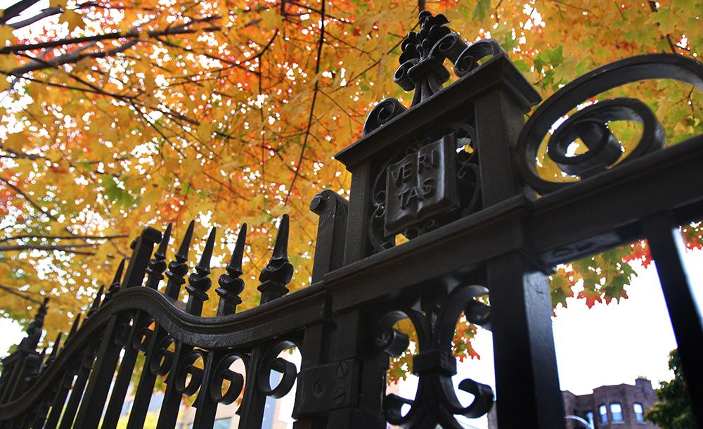 Gates of Harvard Yard in autumn