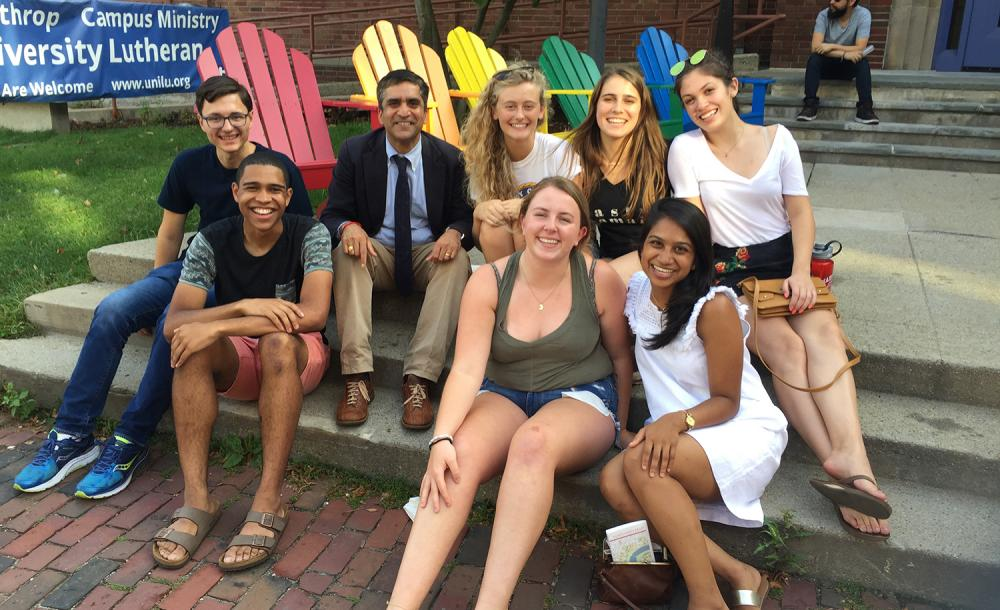 Students sitting with Dean Khurana