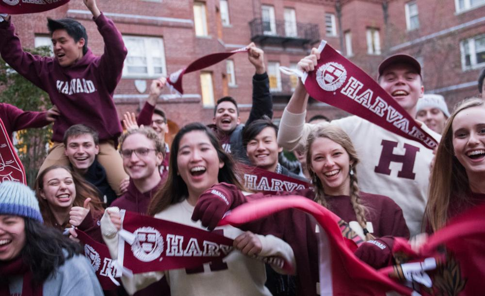 Students with Harvard gear