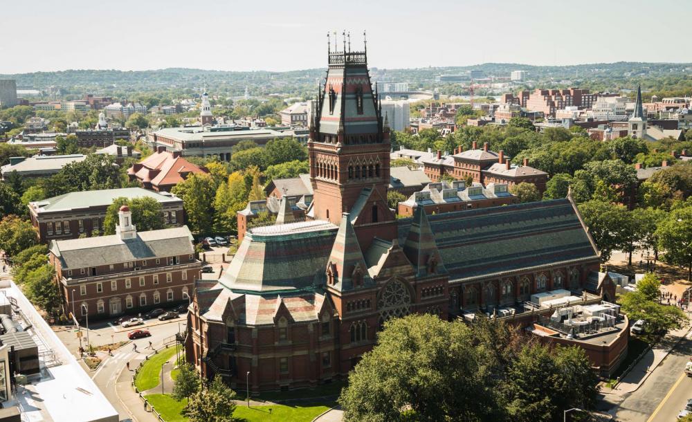 Aerial shot of Harvard's Memorial Hall