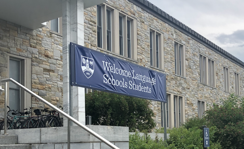 "Image of a banner reading ""welcome language school students"""
