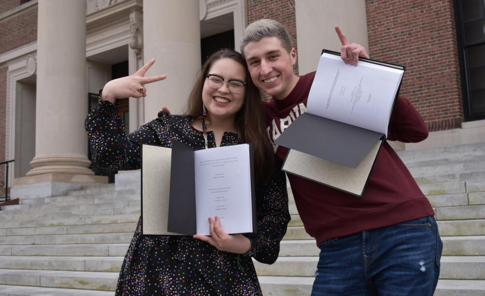 My friend and I with our theses!