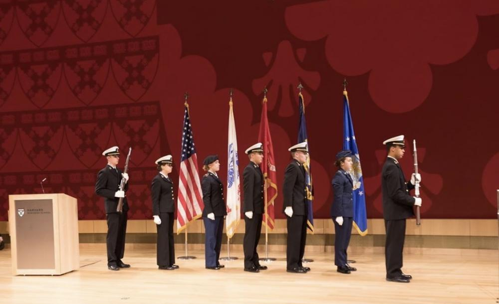 This is a photo of me doing the color guard for the Harvard Business School Veteran's Day Ceremony which ROTC members are invited to attend.