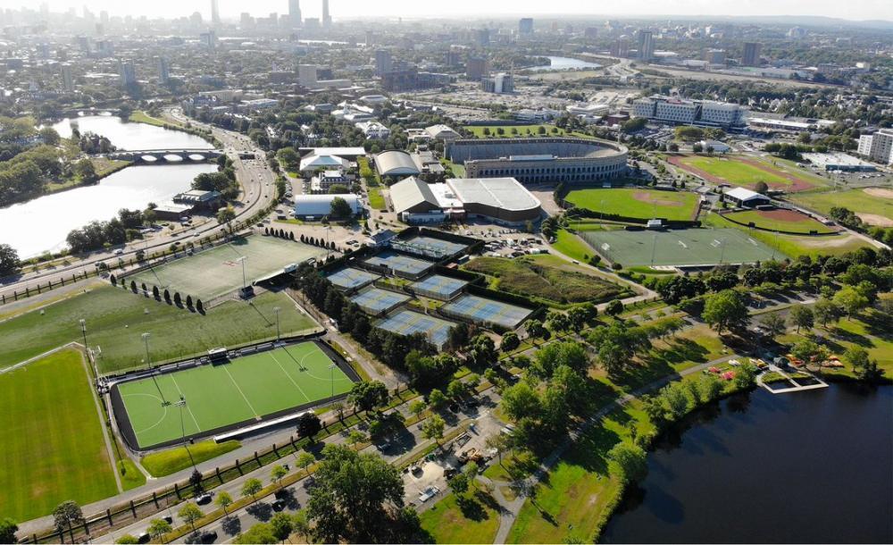 aerial image of Harvard athletic facilities
