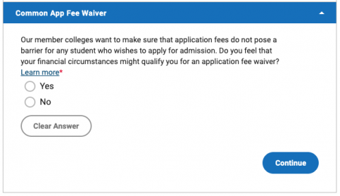 Screenshot of Common App fee waiver question