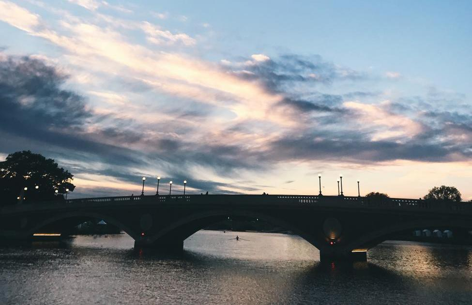 The Charles River with the JFK Bridge Visible at Sunset