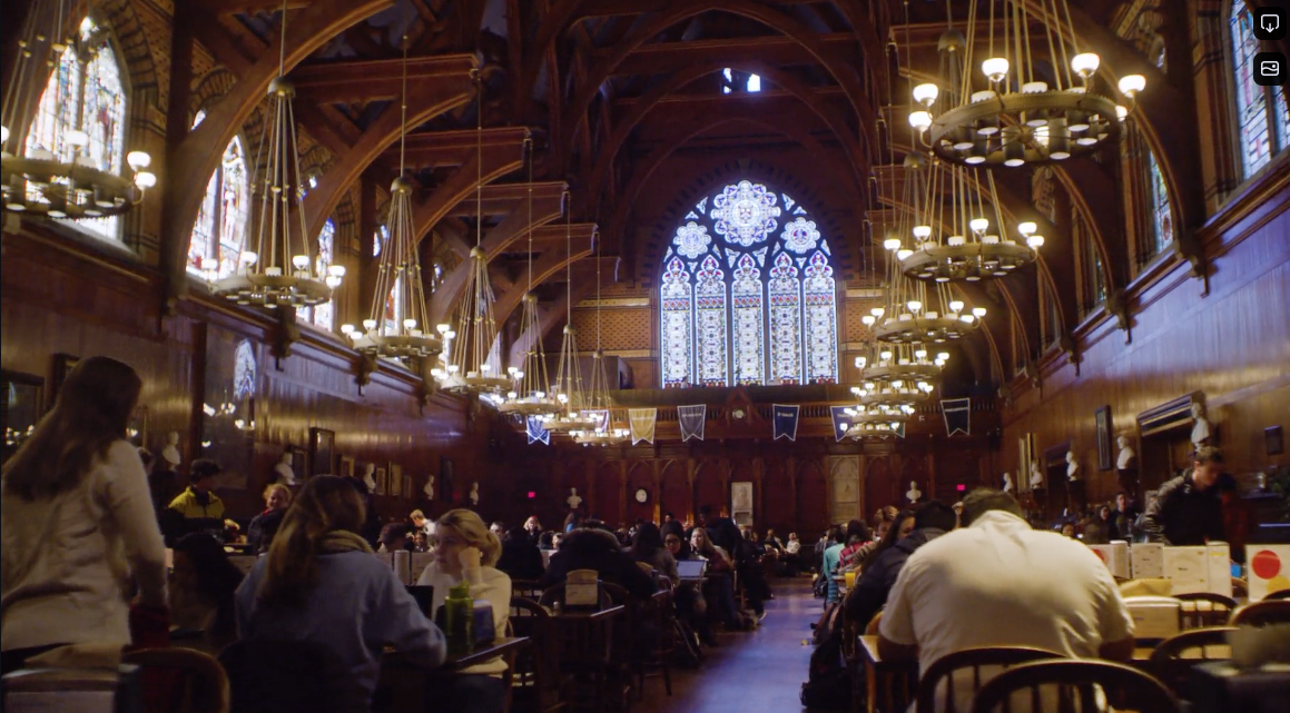 Interior of Annenberg Hall filled with students