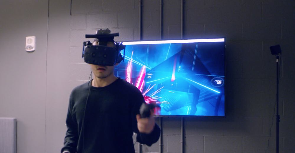Student creating virtual reality game