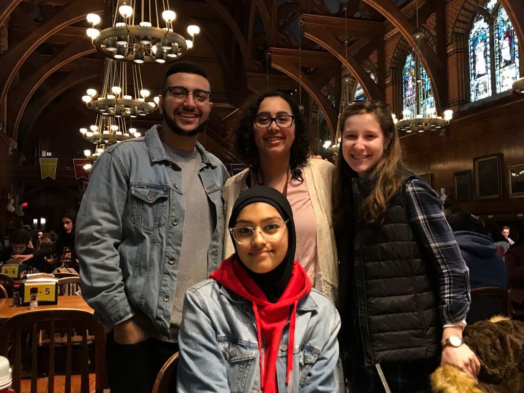 four students at Annenberg Hall