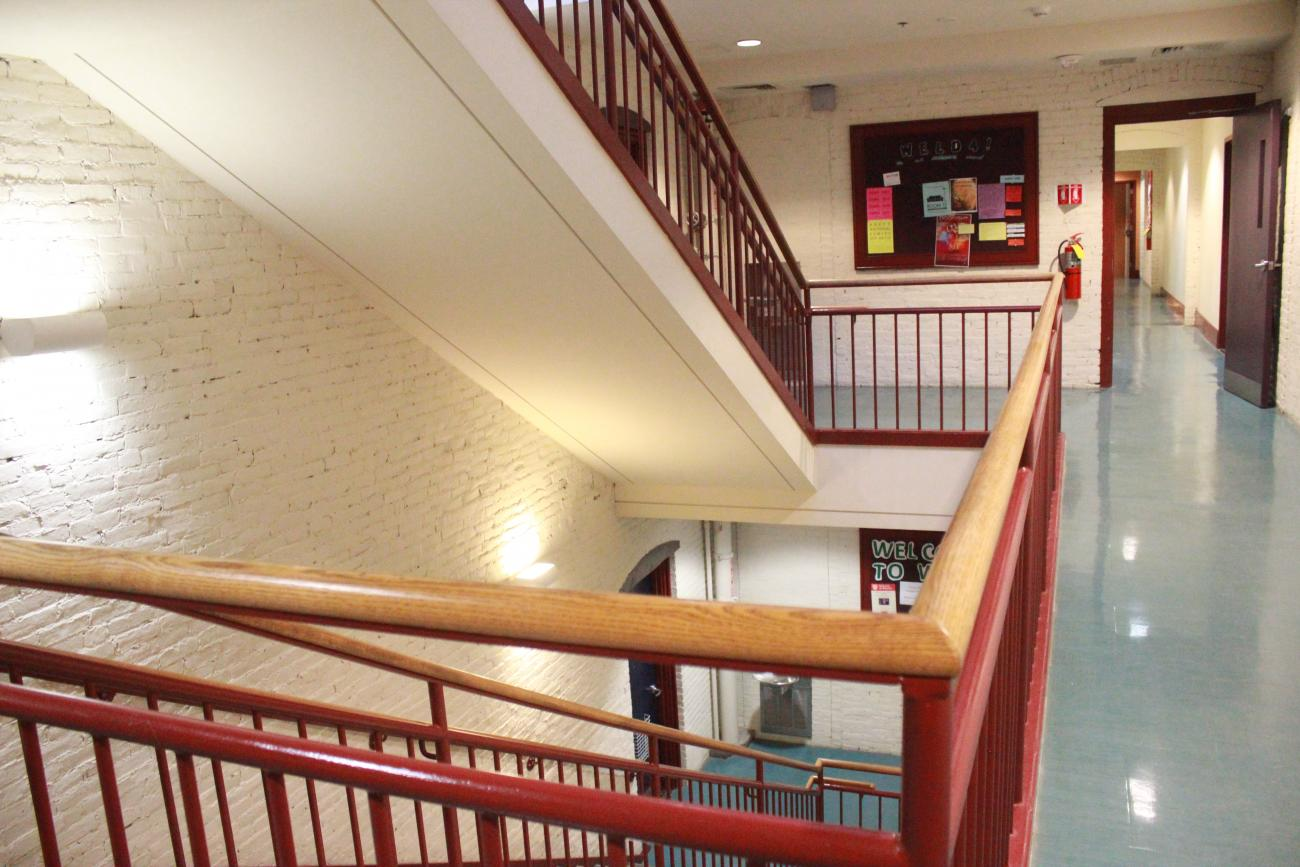 staircases located in Harvard's first-year dormitory, Weld