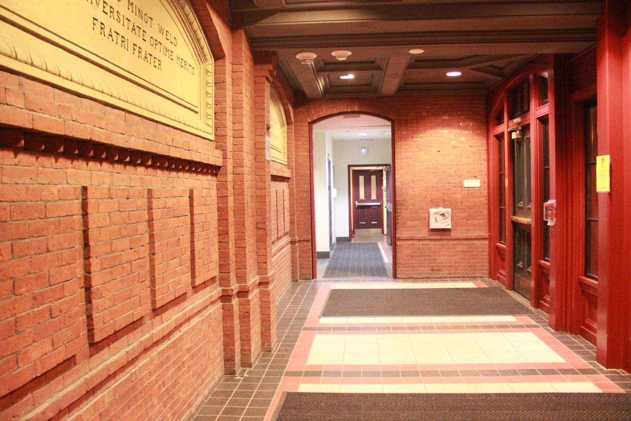 lobby of first-year Harvard dormitory, Weld