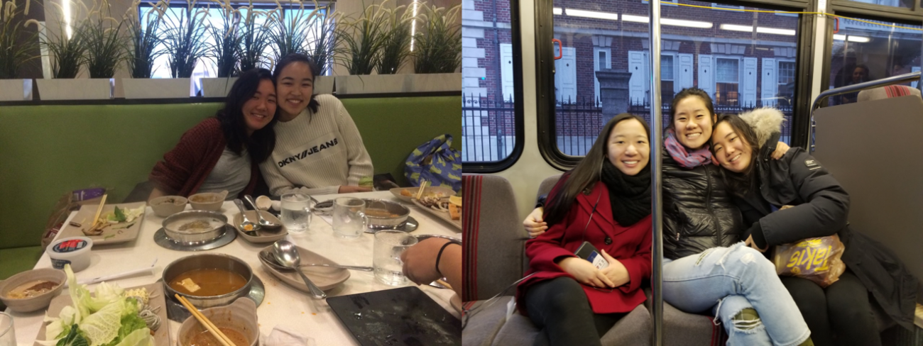 two photos side by side, 1 of students at a restaurant, 2 of students on the subway