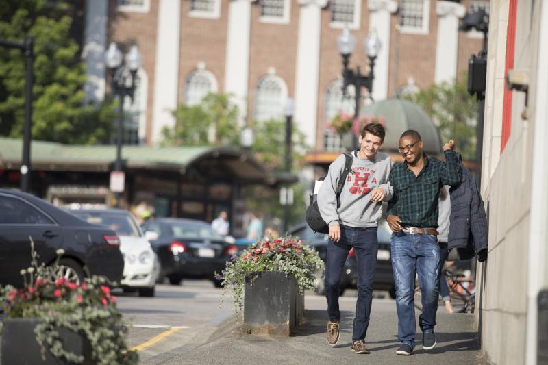 Students walking in Harvard Square