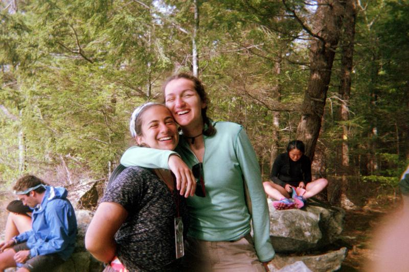 Author with friend on hiking trip