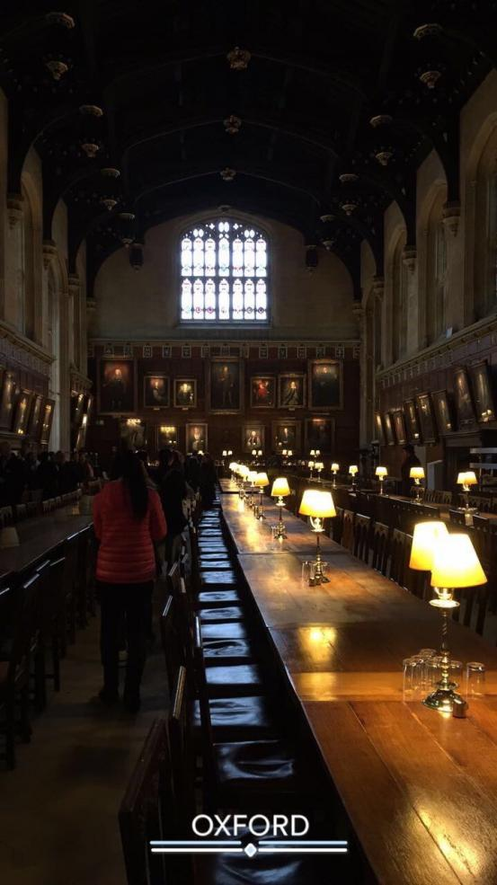 long tables with lamps in Christ Church dining hall