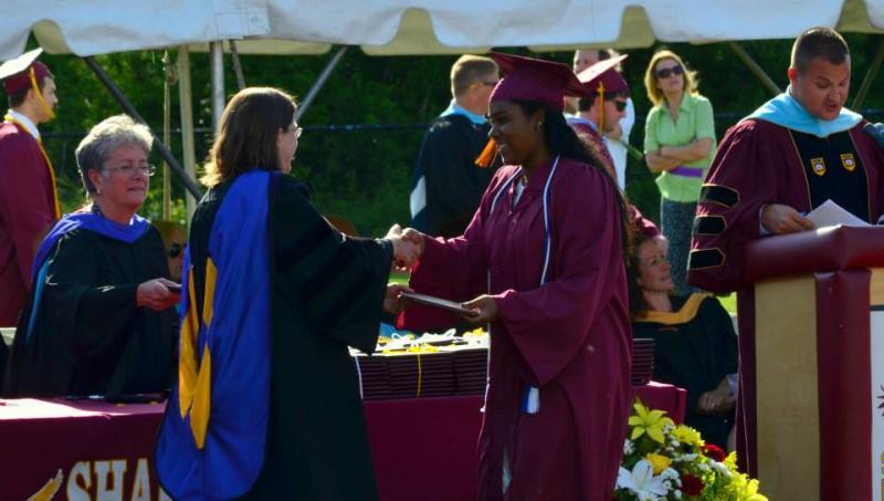 Me receiving my high school diploma