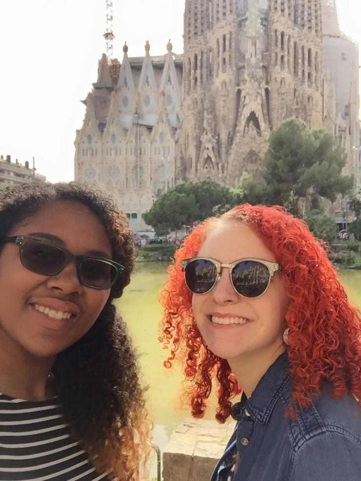 Me and my travel buddy in front of La Sagrada Familia in Barcelona during our gap year