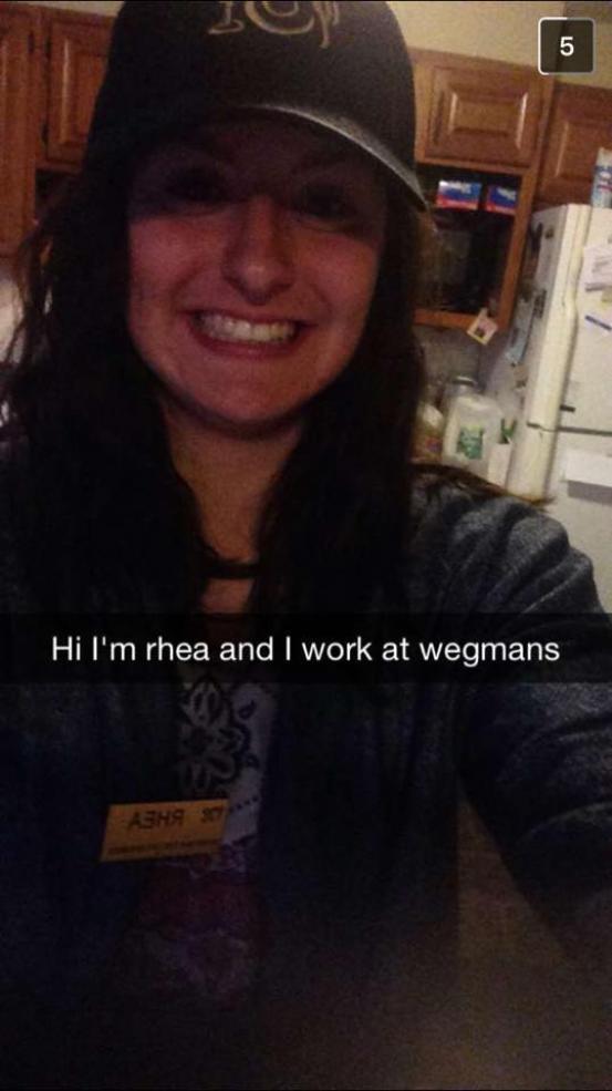 My best friend Sam in my Wegmans work uniform