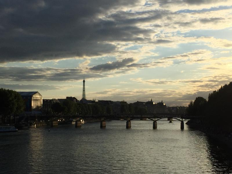 View of Paris at sunset, with Eiffel Tower in background