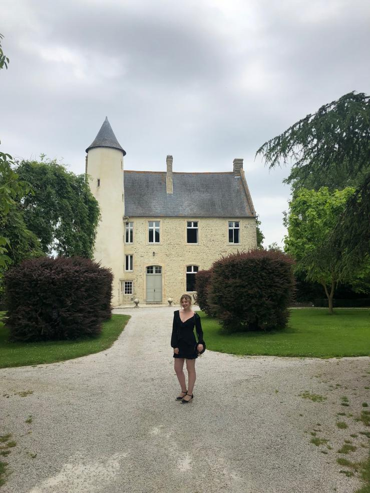 Malia at Chateau Monfreville, a castle in northern France