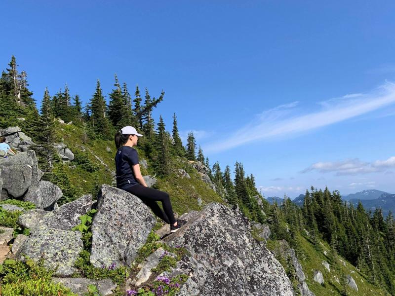 I'm sitting on a big rock, overlooking a mountain range near my home in Washington State.