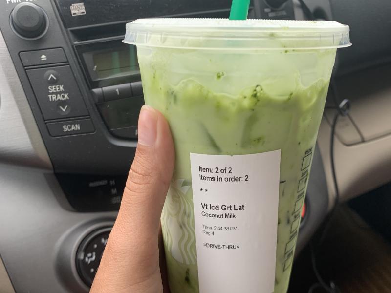 An Iced Matcha Green Tea Latte