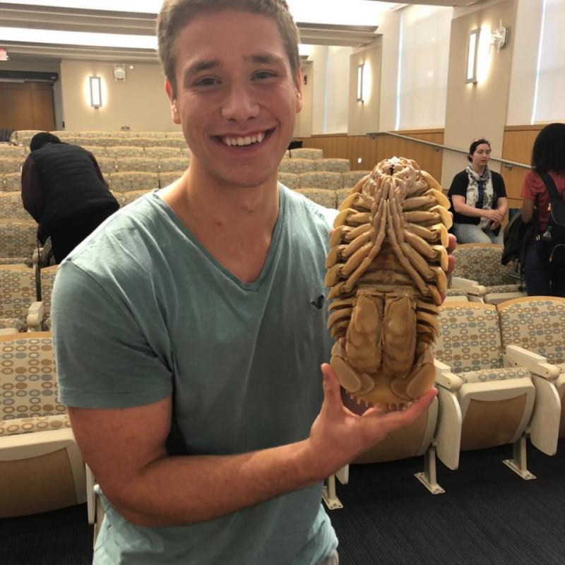 Student holding a giant isopod