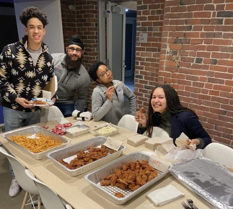 Here's a picture of a study break where we had some Bonchon fried chicken!