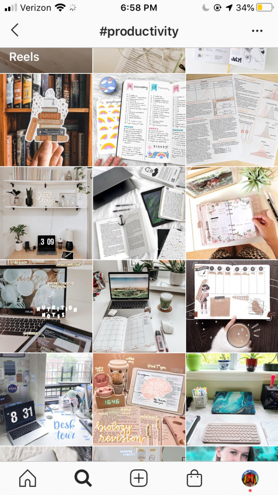 instagram feed of #productivity