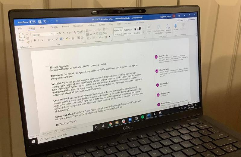 Computer screen displaying a word document