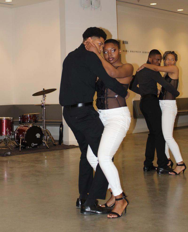 """Students from the UMass Boston group """"Touche'm Dous"""" dance Kompa at the 3rd Annual HCC Jubilee"""