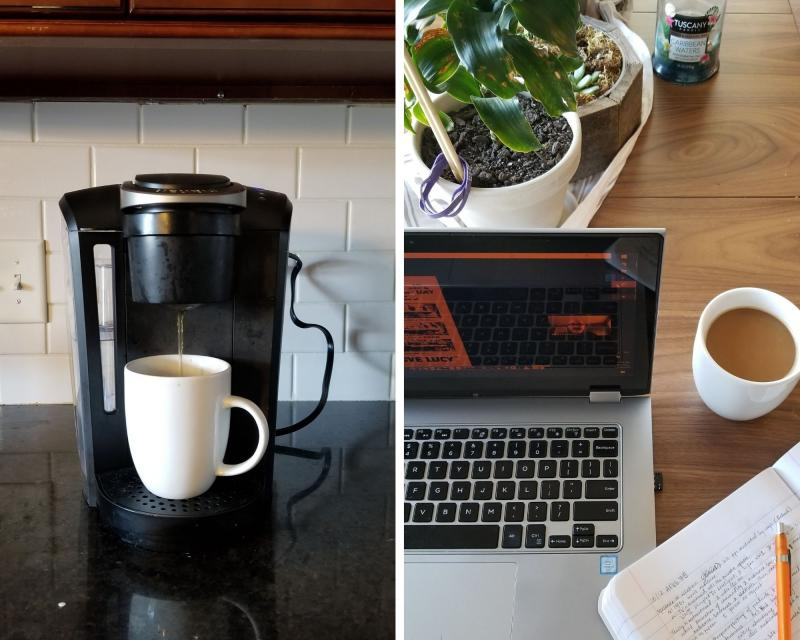 Two images that capture my morning: a cup of coffee and my desk space.