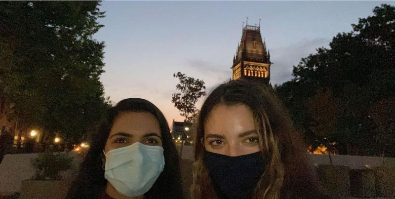 My friend and I outside of Annenberg during sunrise.