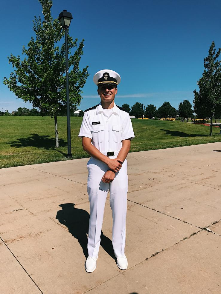 This is me after graduating New Student Indoctrination, the Navy ROTC version of boot camp