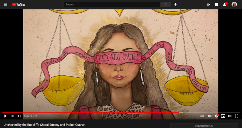 A screenshot of the author's painting shown during a livestreamed choral concert.