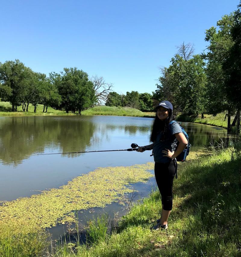 A girl fishing.