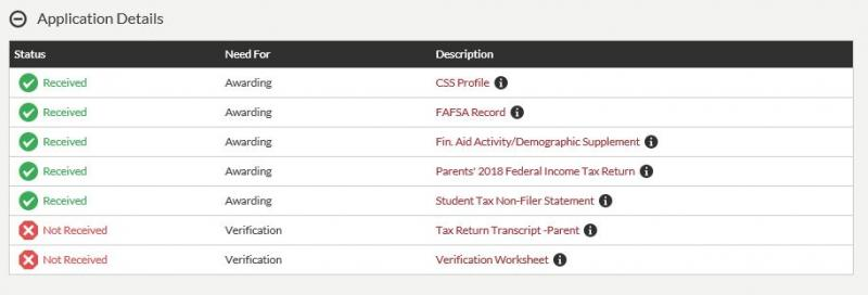 Example of a list of missing and received documents on my.harvard