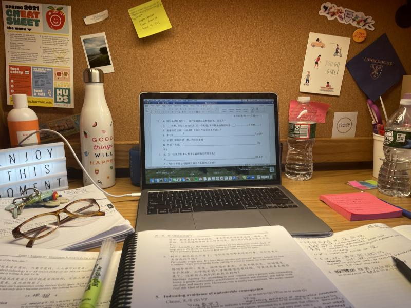 View of desk with laptop and notebooks