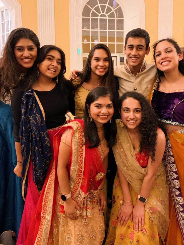 Varshini Odayar, Janani Sekar, Siona Prasad, Nikhil Dharmaraj, Swathi Kella (top row, left to right), Eshika Saxena, Ruhi Nayak (bottom row, left to right) wearing South Asian clothes at Andaaz 2019!