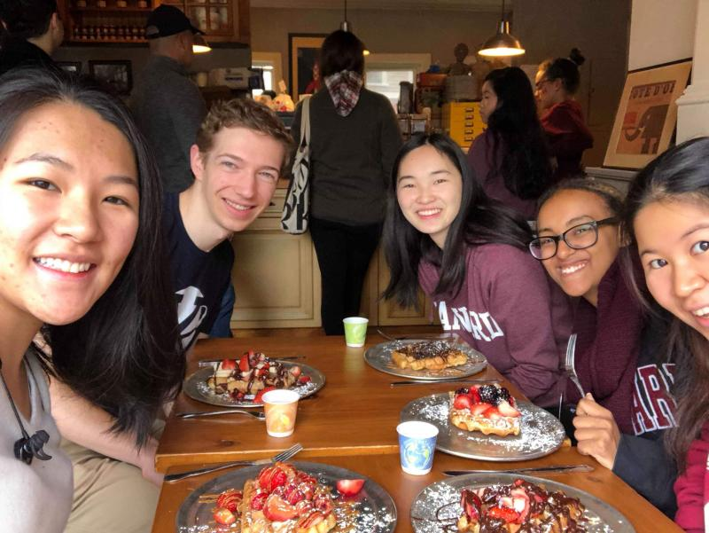 5 students each with a waffle