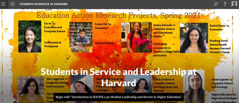 Digital book cover displaying student headshots and project titles
