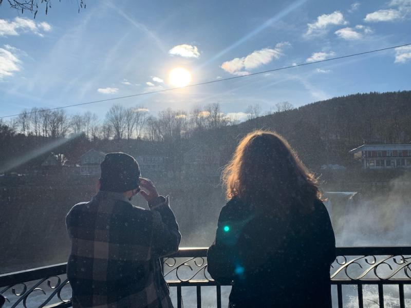 My roommate and I standing in the mist of a waterfall at Shelburne Falls.