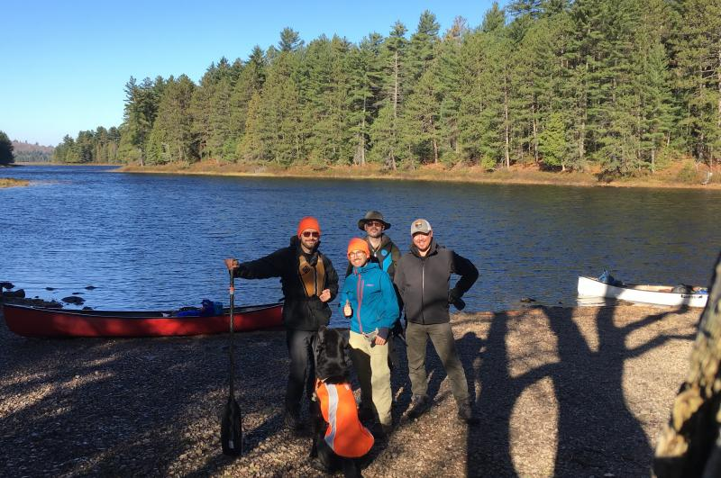 Professor Camille Gómez-Laberge, pictured with his childhood friends on a canoe camping trip in Canada.