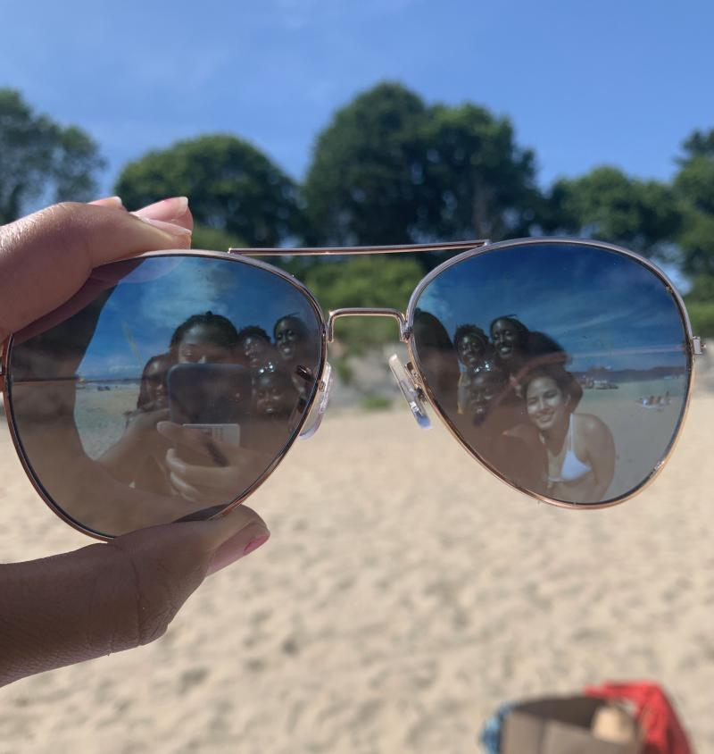 We took this cool picture at Singing Beach using my friend's sunglasses