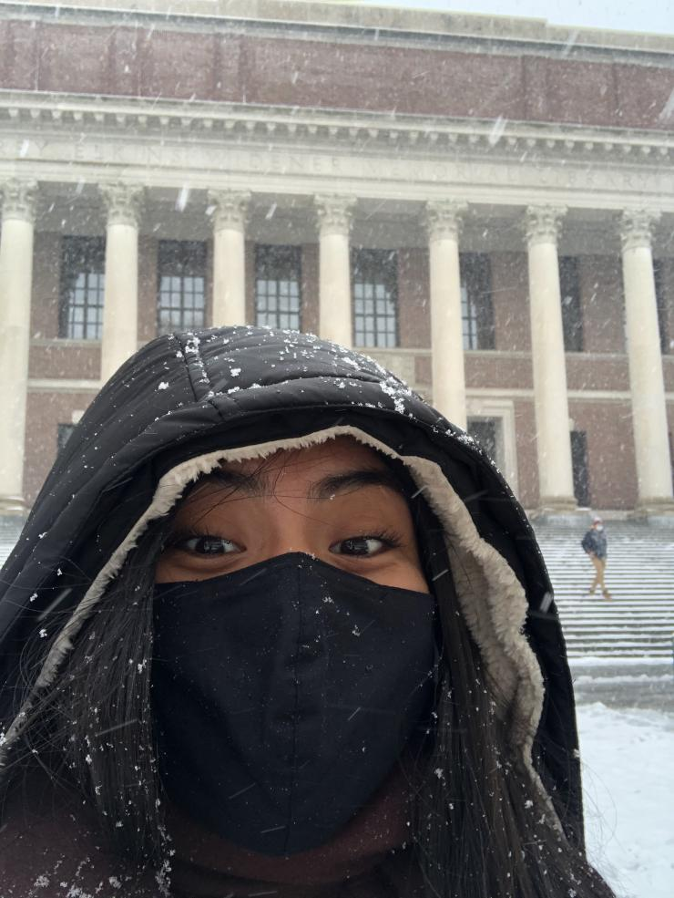 Me standing in front of Widener Library
