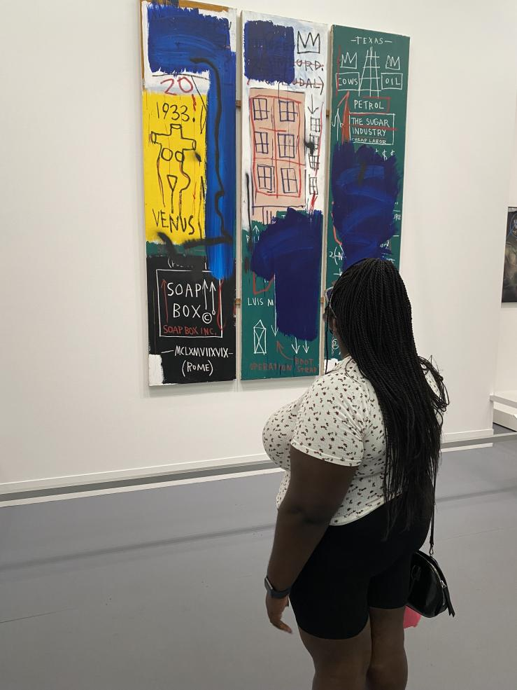 For Juneteenth, the Museum of Fine Arts offered everyone free admission, including to the special exhibits, so I went with my friends to see the one featuring Basquiat. Here I am admiring one of his untitled pieces.